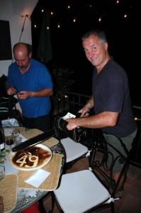 Danny prepares to cut his Tiramisu